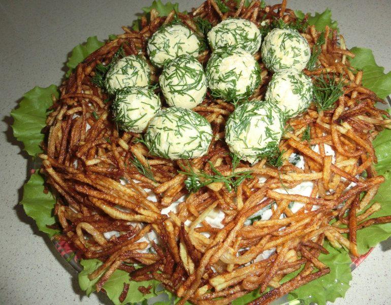Рецепт салата гнездо с фото пошагово