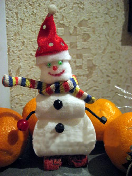 Снеговик  из помпонов 3