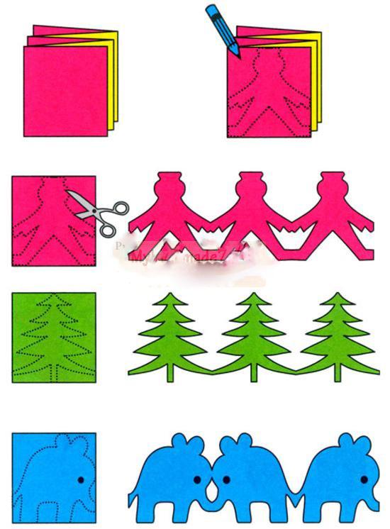 Фигурки для гирлянды из бумаги своими руками 135