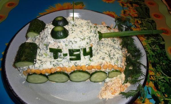 Салаты на 23 февраля: простые и недорогие рецепты праздничных салатиков этап 2