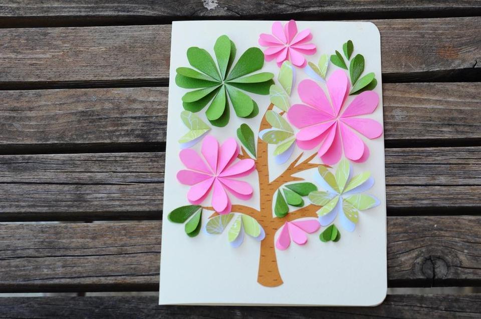 Объемные цветочки на открытку своими руками
