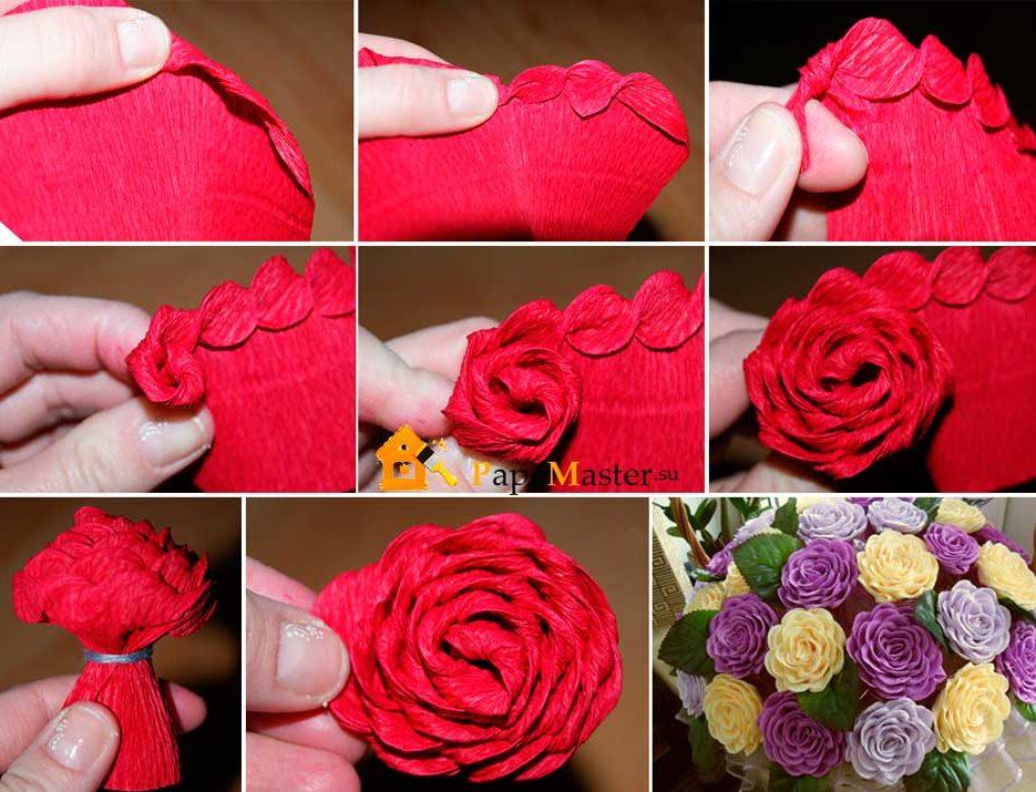 Как сделать из бумаги цветы видео роза 128