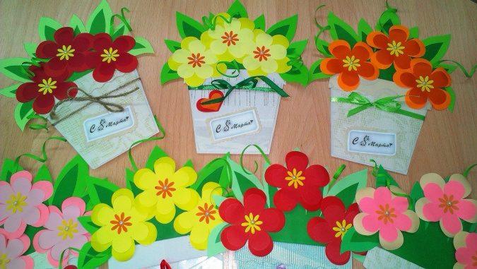 Поделки открытки на 8 марта в детском саду подготовительная группа