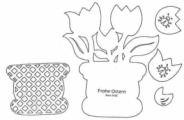 Сделать открытку, открытка на 8 марта ваза с цветами с шаблонами