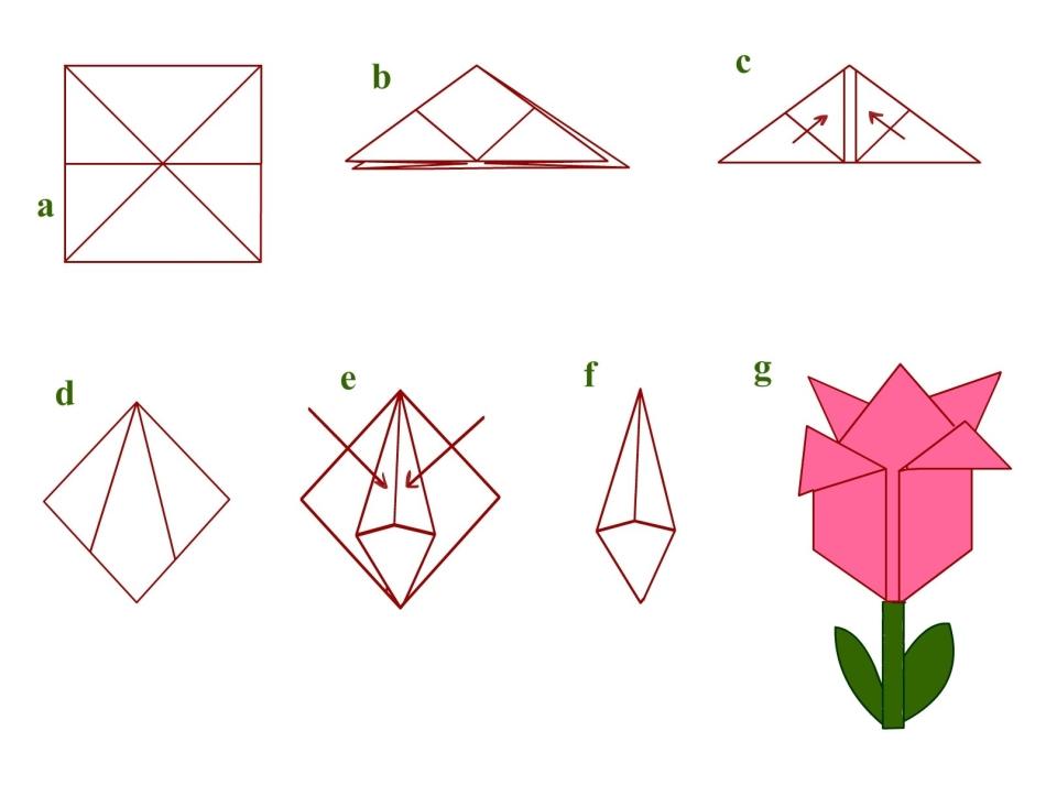 Цветы на открытку оригами