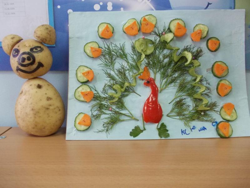 Поделки из овощей и фруктов своими руками для выставки. Самые красивые осенние поделки в детский сад и в школу этап 49