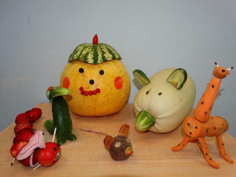 Поделки из овощей и фруктов своими руками для выставки. Самые красивые осенние поделки в детский сад и в школу этап 45