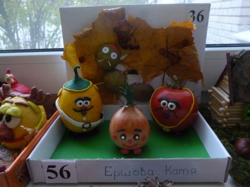 Поделки из овощей и фруктов своими руками для выставки. Самые красивые осенние поделки в детский сад и в школу этап 19