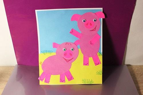 Свинка открытка из цветной бумаги