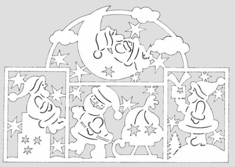 Украшения на окна из бумаги к Новому году 2021. Трафареты и шаблоны новогодних украшений этап 17