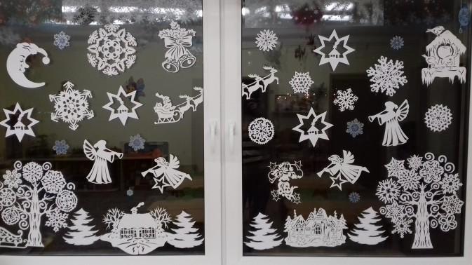 Украшения на окна из бумаги к Новому году 2021. Трафареты и шаблоны новогодних украшений этап 2