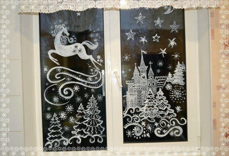 Украшения на окна из бумаги к Новому году 2021. Трафареты и шаблоны новогодних украшений этап 6