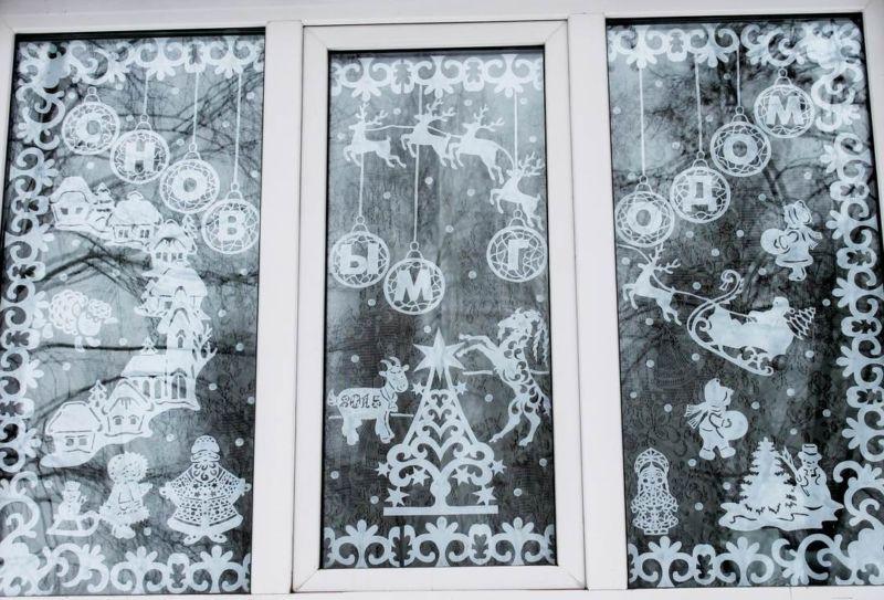 Украшения на окна из бумаги к Новому году 2021. Трафареты и шаблоны новогодних украшений этап 7