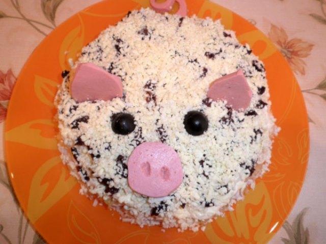 Салаты в виде Свиньи на Новый год 2019 — 5 новых и интересных рецептов этап 2
