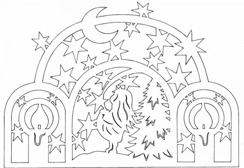 Украшения на окна из бумаги к Новому году 2021. Трафареты и шаблоны новогодних украшений этап 65