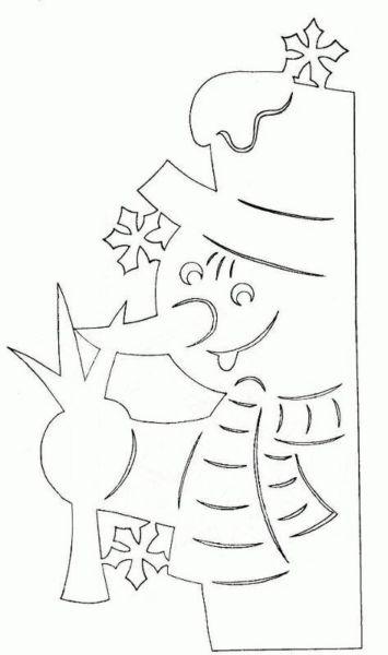 Украшения на окна из бумаги к Новому году 2021. Трафареты и шаблоны новогодних украшений этап 89