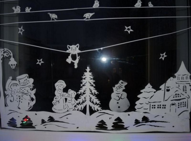 Трафареты на окна к Новому году 2021 для вырезания этап 1