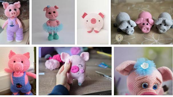 Вязаные свинки (хрюшки) крючком со схемами и описанием. Подборка игрушек амигуруми ручной работы