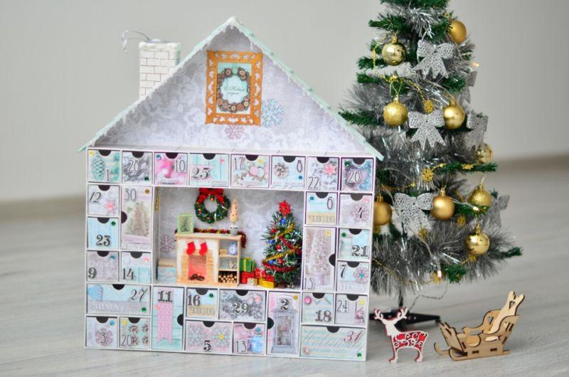 Адвент-календарь для детей к Новому году своими руками с шаблонами и заданиями, которые можно распечатать этап 1
