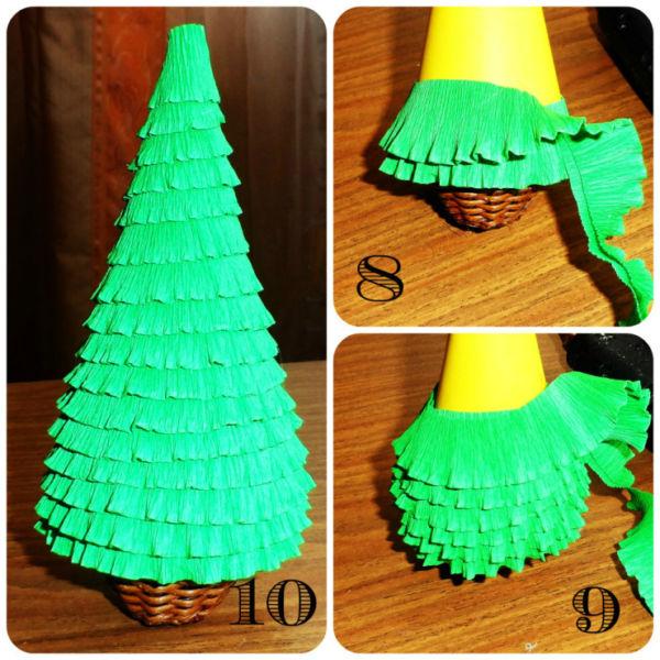 Объемная елка из бумаги — схемы и трафареты для создания елки своими руками этап 54