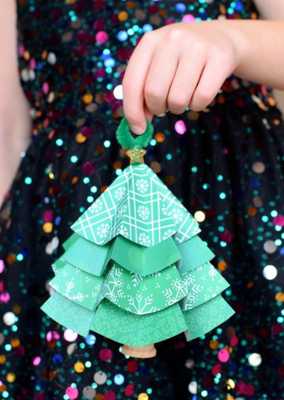 Объемная елка из бумаги — схемы и трафареты для создания елки своими руками этап 23