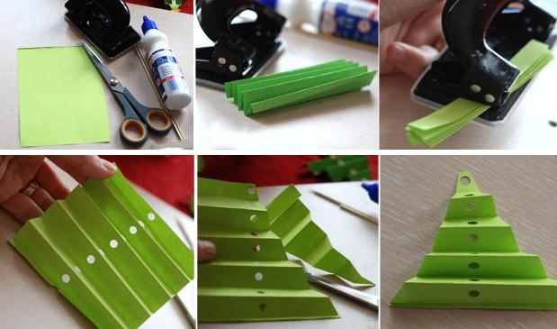 Объемная елка из бумаги — схемы и трафареты для создания елки своими руками этап 26