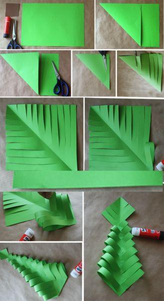 Объемная елка из бумаги — схемы и трафареты для создания елки своими руками этап 19