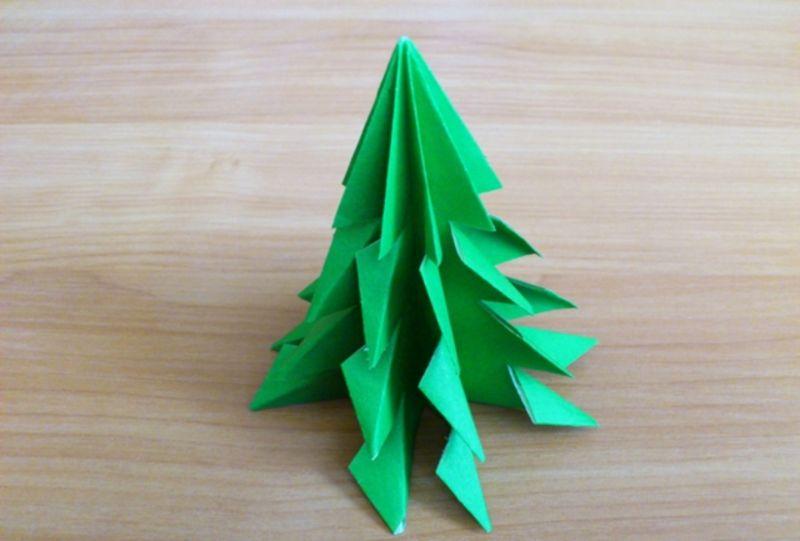 Объемная елка из бумаги — схемы и трафареты для создания елки своими руками этап 38
