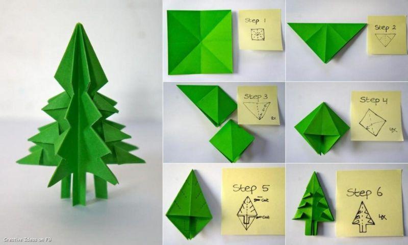 Объемная елка из бумаги — схемы и трафареты для создания елки своими руками этап 48