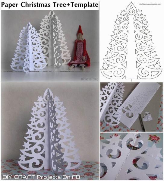 Объемная елка из бумаги — схемы и трафареты для создания елки своими руками этап 8