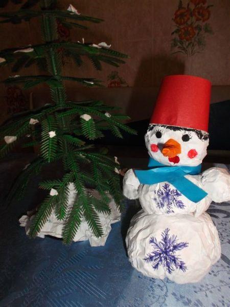 Снеговик своими руками на Новый год из подручных материалов этап 66