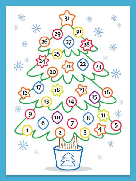Адвент-календарь для детей к Новому году своими руками с шаблонами и заданиями, которые можно распечатать этап 65