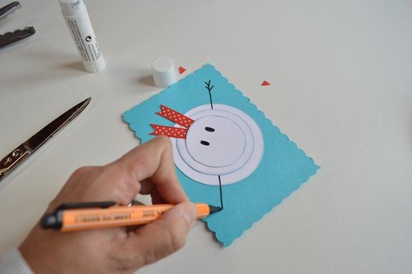 Новогодние открытки своими руками для детей: мастер-классы и шаблоны открыток на Новый год 2021 этап 10
