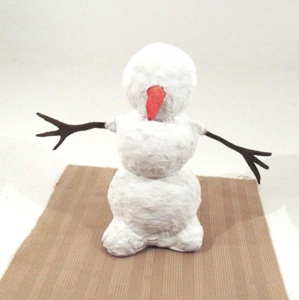Снеговик своими руками на Новый год из подручных материалов этап 47
