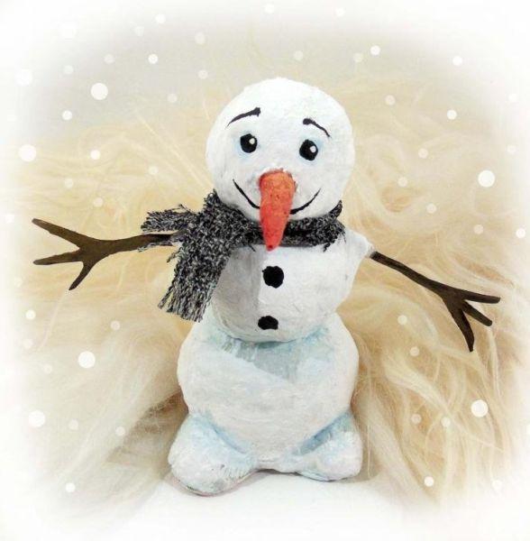Снеговик своими руками на Новый год из подручных материалов этап 41