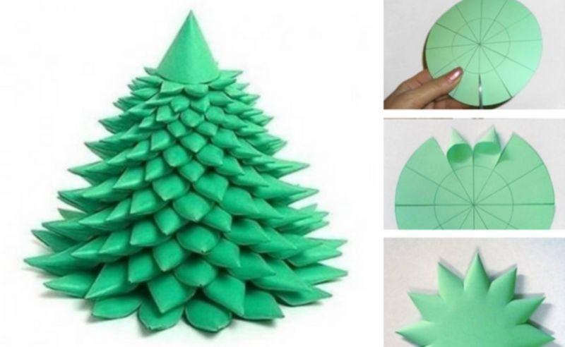 Объемная елка из бумаги — схемы и трафареты для создания елки своими руками этап 16
