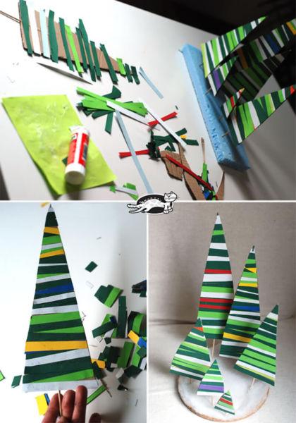 Объемная елка из бумаги — схемы и трафареты для создания елки своими руками этап 18