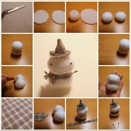 Снеговик своими руками на Новый год из подручных материалов этап 123