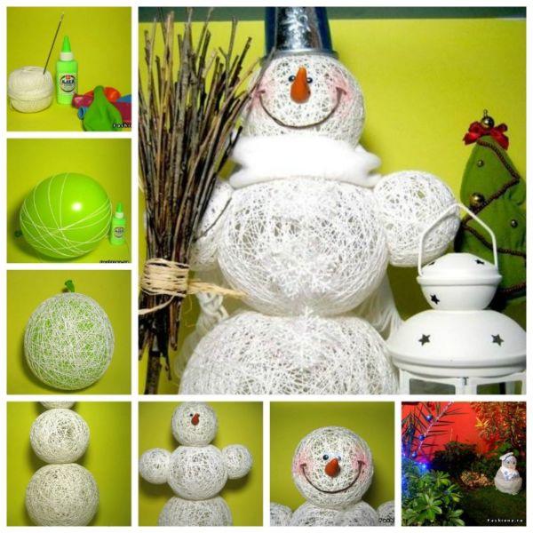 Снеговик своими руками на Новый год из подручных материалов этап 126