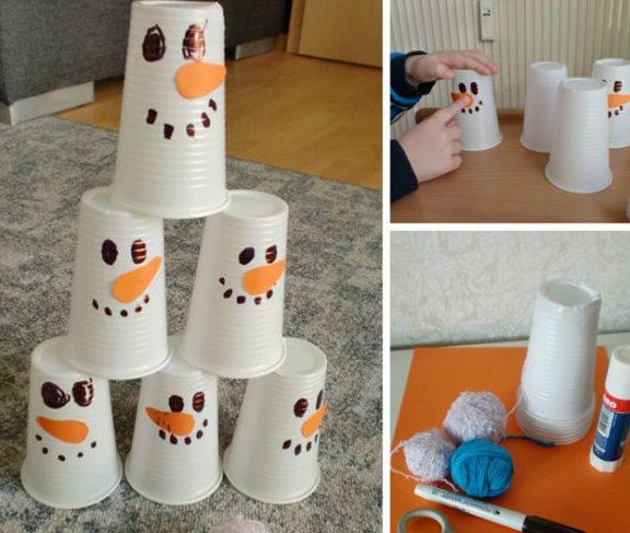 Снеговик своими руками на Новый год из подручных материалов этап 3