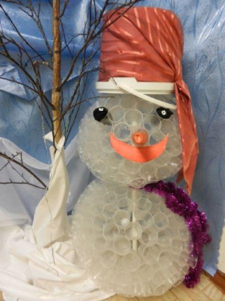 Снеговик своими руками на Новый год из подручных материалов этап 23
