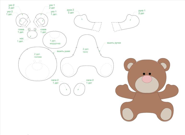 Игрушки из фетра своими руками — выкройки и шаблоны для начинающих этап 24