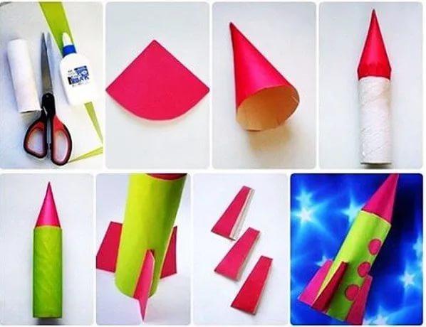 Ракета из бумаги и картона для детей: как сделать своими руками поделку ракету этап 60