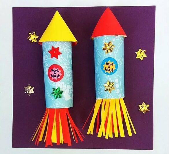 Ракета из бумаги и картона для детей: как сделать своими руками поделку ракету этап 61