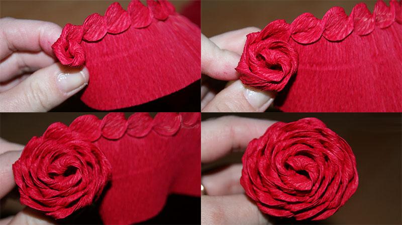 Розы из гофрированной бумаги своими руками: пошаговые инструкции для начинающих этап 29
