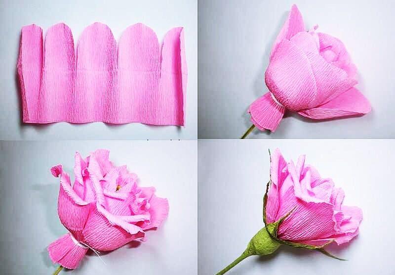Розы из гофрированной бумаги своими руками: пошаговые инструкции для начинающих этап 31
