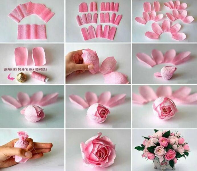 Розы из гофрированной бумаги своими руками: пошаговые инструкции для начинающих этап 24