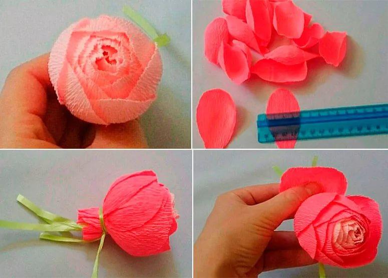 Розы из гофрированной бумаги своими руками: пошаговые инструкции для начинающих этап 51