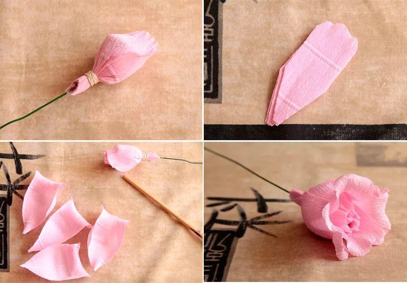 Розы из гофрированной бумаги своими руками: пошаговые инструкции для начинающих этап 48
