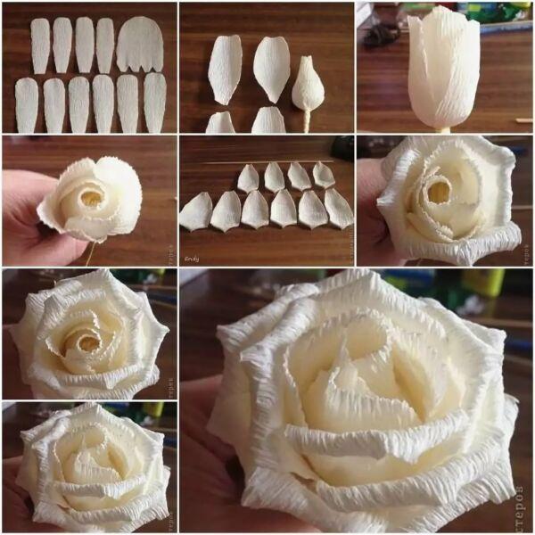 Розы из гофрированной бумаги своими руками: пошаговые инструкции для начинающих этап 49
